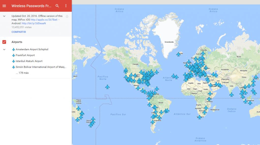Claves WiFi de todos los aeropuertos del mundo