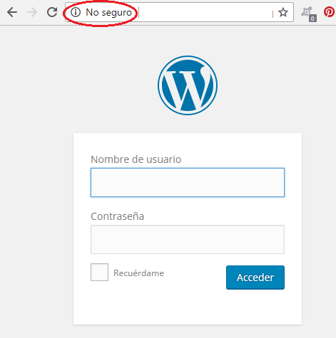 Advertencia de sitio no seguro del navegador chrome