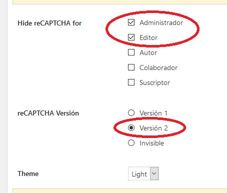Ocultando el captcha de los administradores y editores