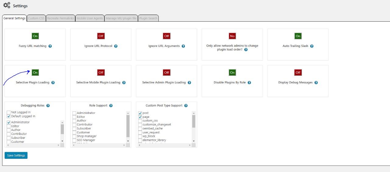 Una vez instalado vamos a la configuración y destildamos el selective plugin loading.